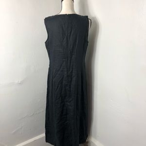 J. Jill Dresses - J. Jill Black Linen Sleeveless Pleated Maxi Dress